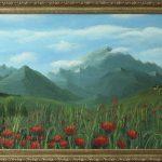 "картина холст масло ""Маки в горах"" - художник Евгений Клюев Новосибирск"