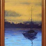 """картина холст масло """"Лодка"""" - художник Евгений Клюев Новосибирск"""