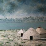"""картина холст масло """"Берег горячего озера"""" - художник Евгений Клюев Новосибирск"""